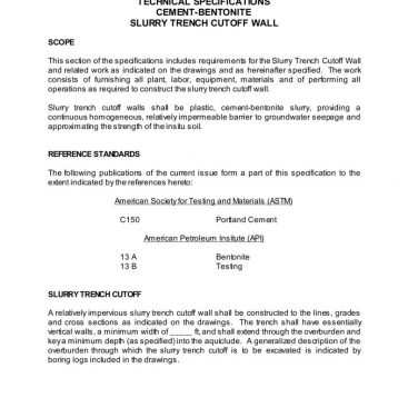 thumbnail of Sample Spec Cement-Bentonite Slurry Trench